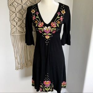 Johnny Was Embroidered Bell Sleeve Dress